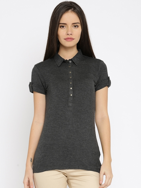 Being Human Clothing Women Charcoal Grey Solid Polo T-shirt