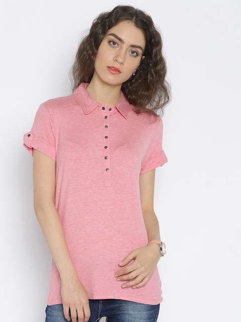 Being Human Clothing Women Pink Solid Polo T-Shirt