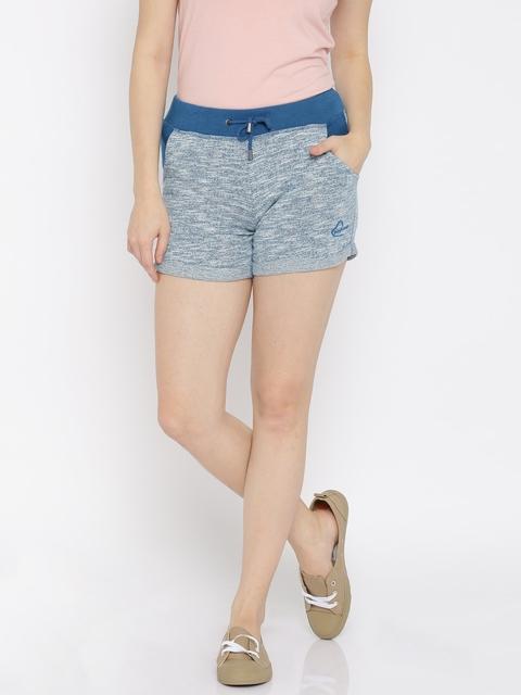 Being Human Women Blue Self-Design Regular Fit Shorts
