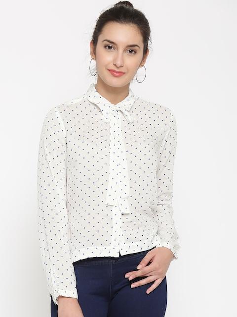Being Human Women White Polka Dot Print Casual Shirt