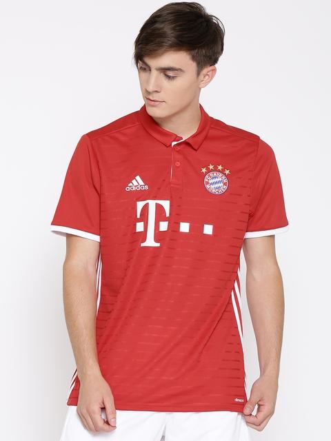 ADIDAS Men Red FC Bayern Munich Home Striped Polo Jersey T-shirt