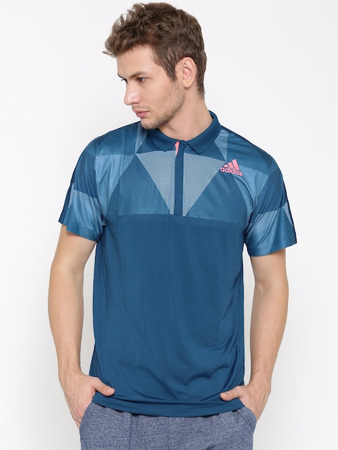 Adidas Men Teal Blue PRO Printed Polo Collar T-shirt