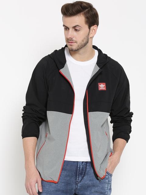 Adidas Originals Black & Grey Aerotech Colourblocked Windcheater Hooded Jacket