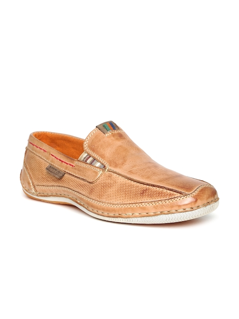 Buckaroo Men Tan Brown Leather Slip-Ons