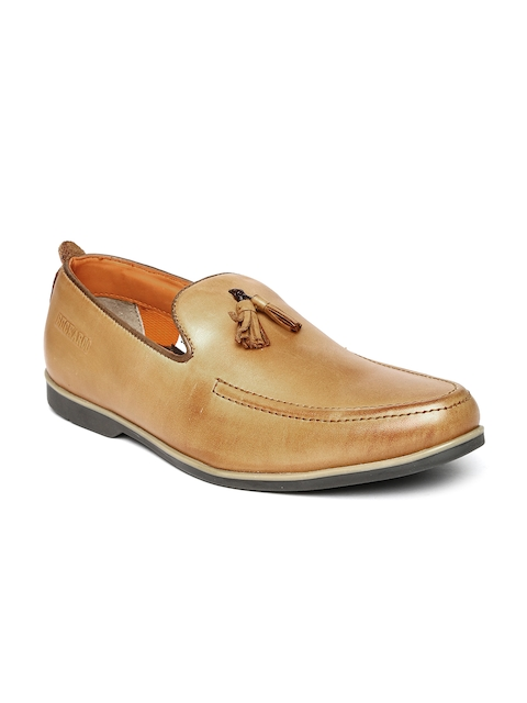 Buckaroo Men Tan Brown Leather Loafers