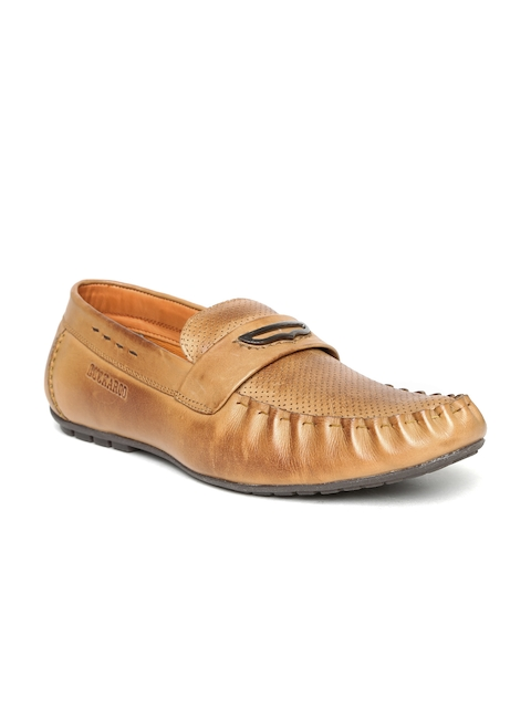 Buckaroo Men Tan Brown Leather Perforated Loafers