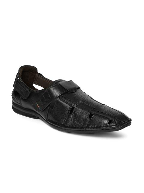 Buckaroo Men Black Fisher Leather Sandals