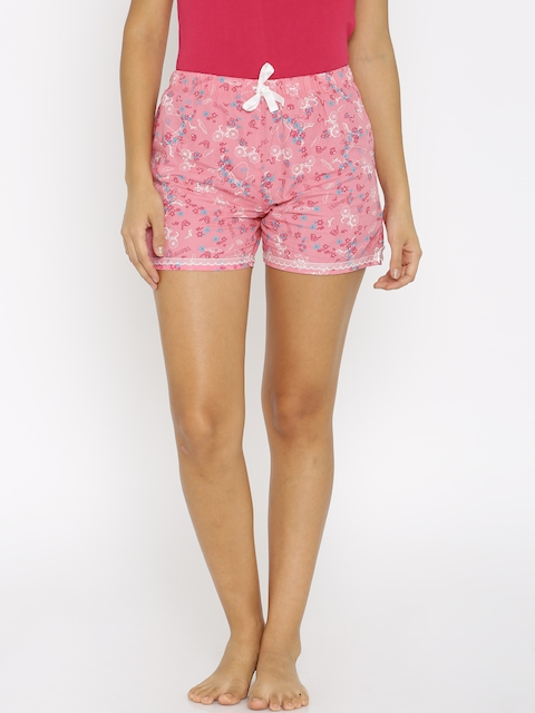 Enamor Women Pink Printed Lounge Shorts