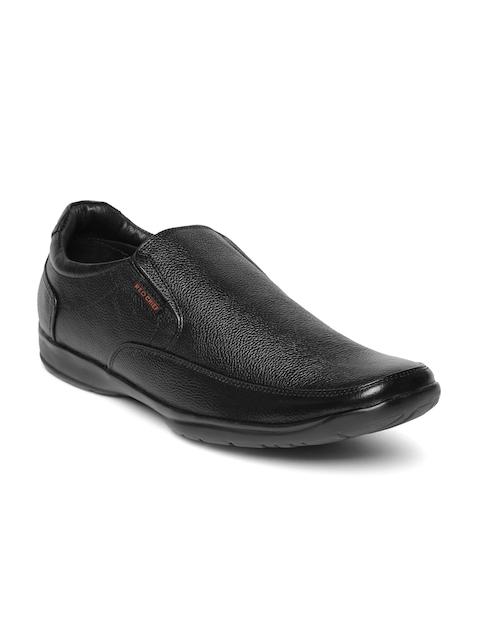 Red Chief Men Black Genuine Leather Slip-Ons