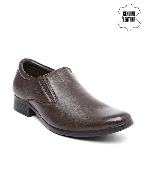 Red Chief Men Brown Genuine Leather Slip-ons