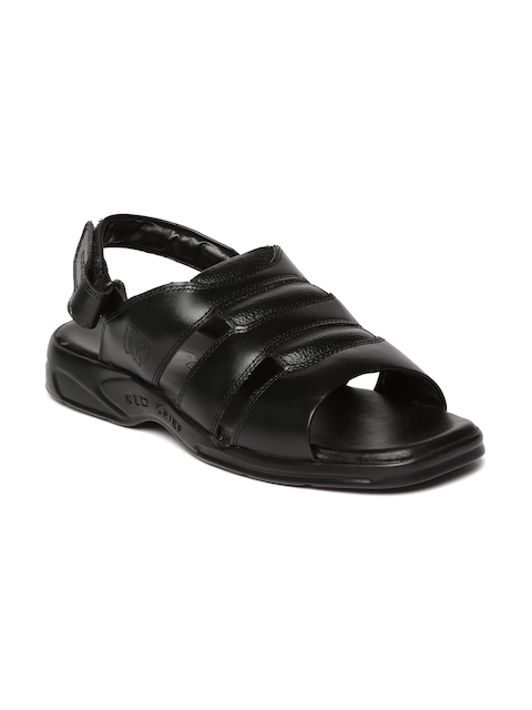 Red Chief Men Black Leather Sandals  available at myntra for Rs.1610