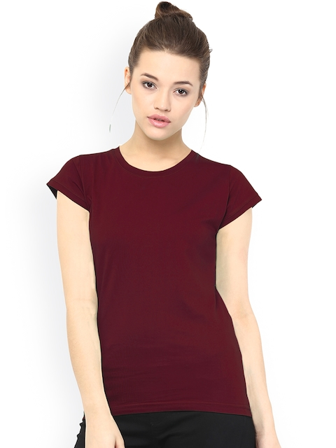 Miss Chase Women Maroon Solid Regular Top