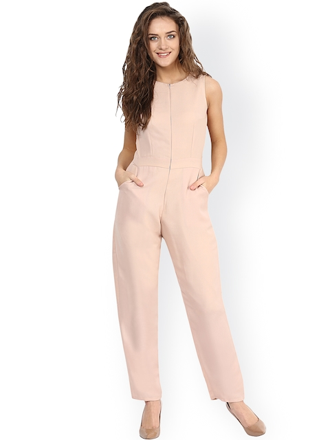 Miss Chase Beige Slim Fit Jumpsuit