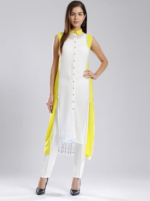 W White & Yellow Polyester Printed Sheer High-Low Kurta