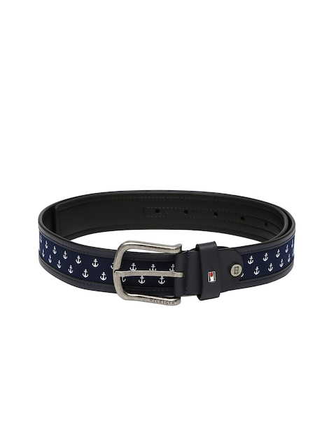 Tommy Hilfiger Men Navy Leather Printed Belt