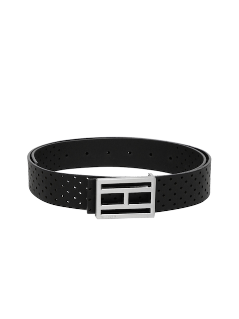 Tommy Hilfiger Men Black Cut-Out Genuine Leather Belt