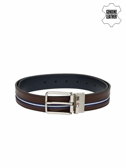 Tommy Hilfiger Men Brown & Navy Genuine Leather Reversible Belt