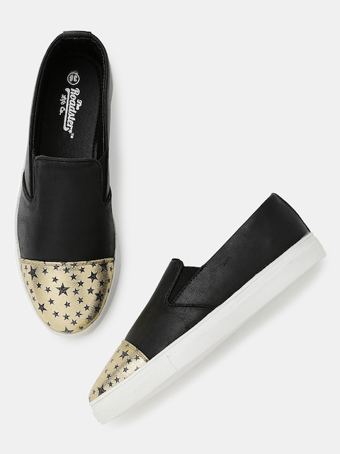 Roadster Women Black Printed Regular Slip-On Sneakers