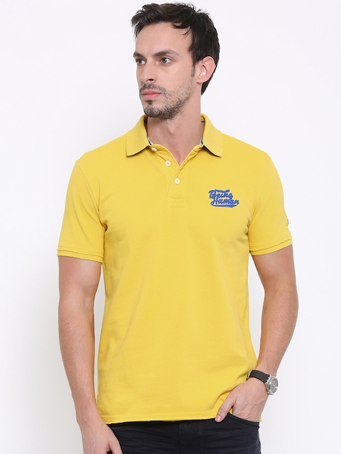 Being Human Men Yellow Solid Polo T-Shirt