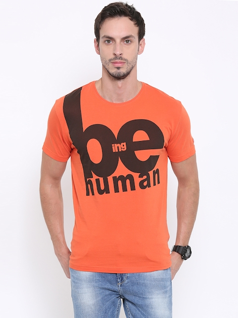 Being Human Clothing Men Orange Printed Round Neck T-Shirt  available at myntra for Rs.449