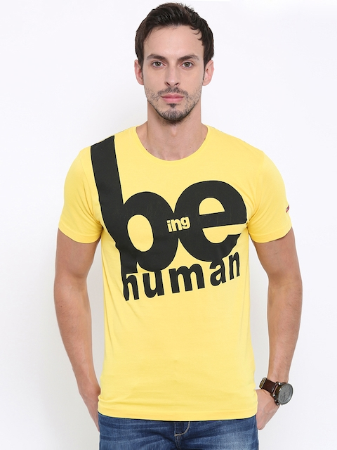 Being Human Clothing Men Yellow Printed Round Neck T-Shirt  available at myntra for Rs.449