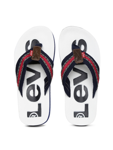 Levis Men White & Navy Textured Flip-Flops