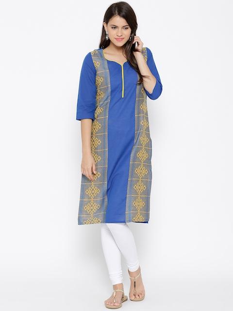 AURELIA Women Blue Woven Design Straight Kurta  available at myntra for Rs.479