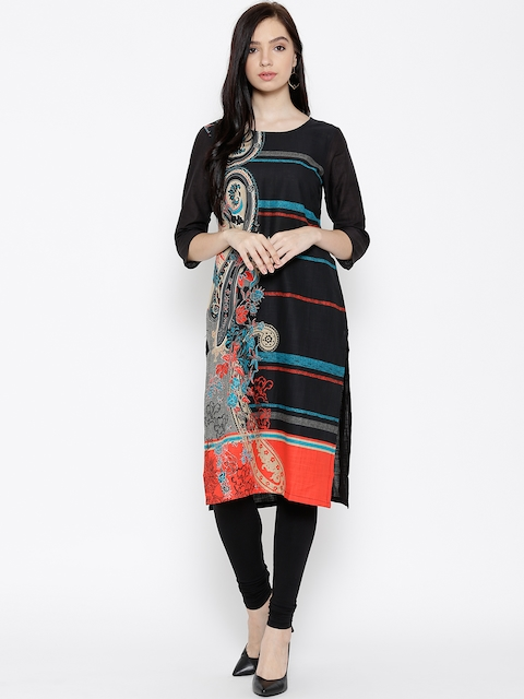 AURELIA Women Black Printed Straight Kurta