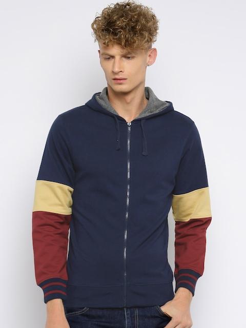Moda Rapido Men Navy Blue Colourblocked Hooded Sweatshirt