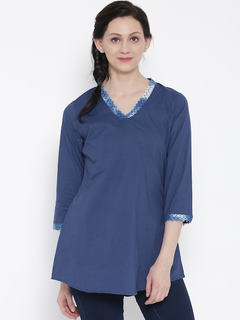 Rangriti Navy A-Line Kurti  available at myntra for Rs.299