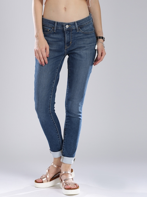 Levis Women Blue Skinny Fit Mid-Rise Clean Look Jeans