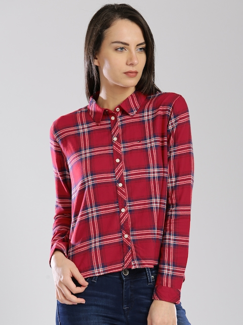 Tommy Hilfiger Women Red Regular Fit Checked Casual Shirt