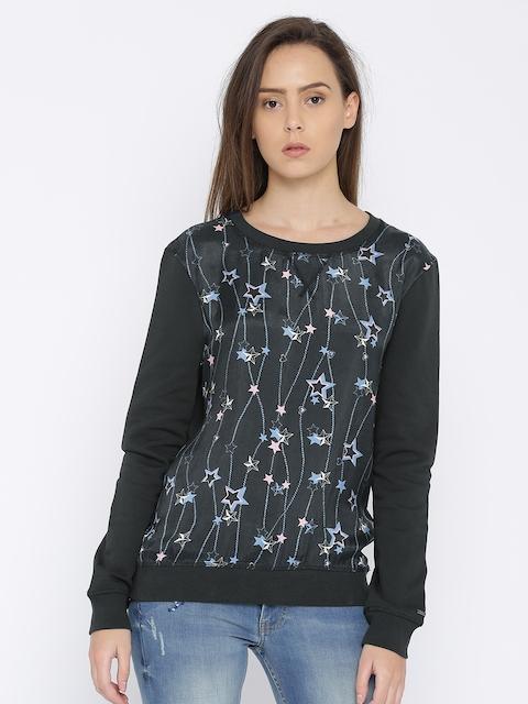 Tommy Hilfiger Women Charcoal Printed Sweatshirt