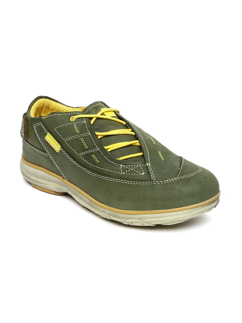 Red Chief Men Olive Green Leather Sneakers