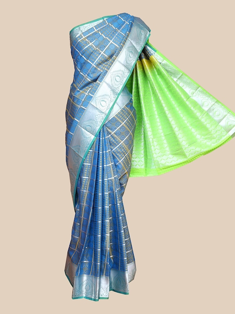 The Chennai Silks Blue & Green Checked Zari Art Silk Saree