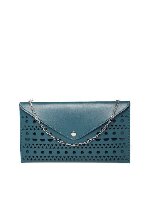 DressBerry Teal Blue Cut-Out Clutch with Chain Strap