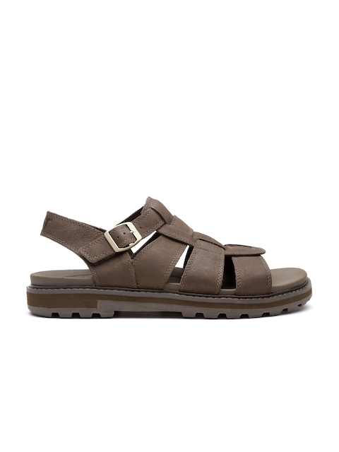 CAT Men Brown Leather Sports Sandals