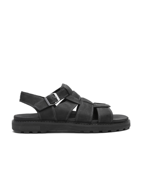 CAT Men Black Gallant Leather Sports Sandals