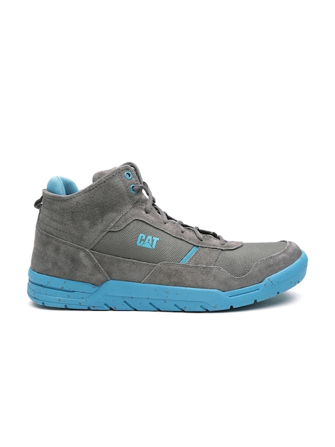 CAT Men Grey Chasm Mid Leather Sneakers