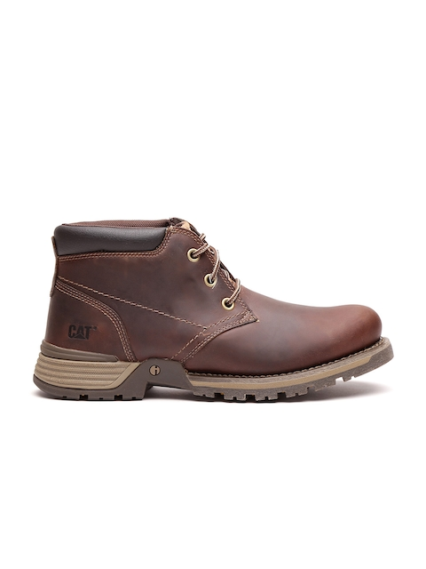 CAT Men Brown Solid Leather Flat Boots