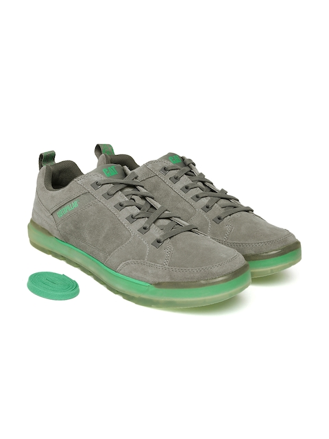 CAT Men Grey Pronounce Leather Sneakers