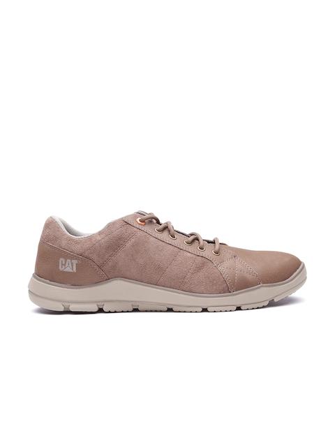 CAT Men Brown Saxon Leather Sneakers