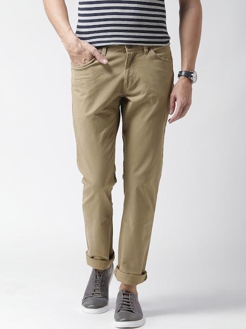 CAT Men Khaki 5 Pocket Slim Casual Trousers