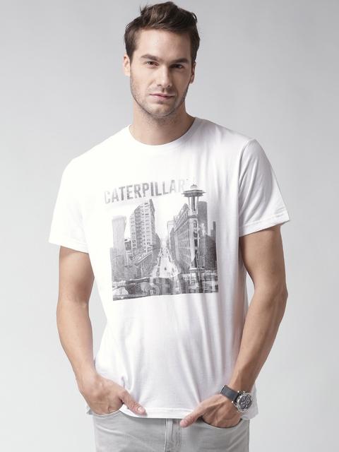 CAT Men White Seattle Print Round Neck T-shirt