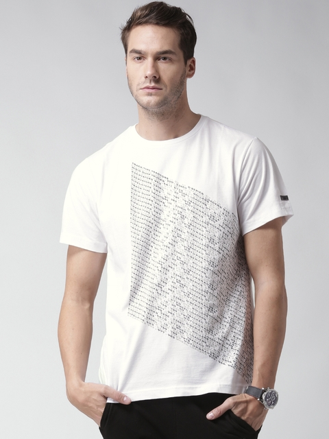 CAT Men White Decipher Printed Round Neck T-shirt