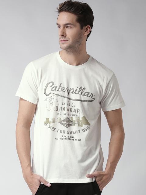 CAT Men Off-White Drawbar Printed Round Neck T-shirt