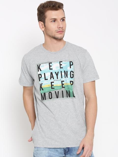 CAT Men Grey Melange Keep Moving Print Round Neck T-shirt