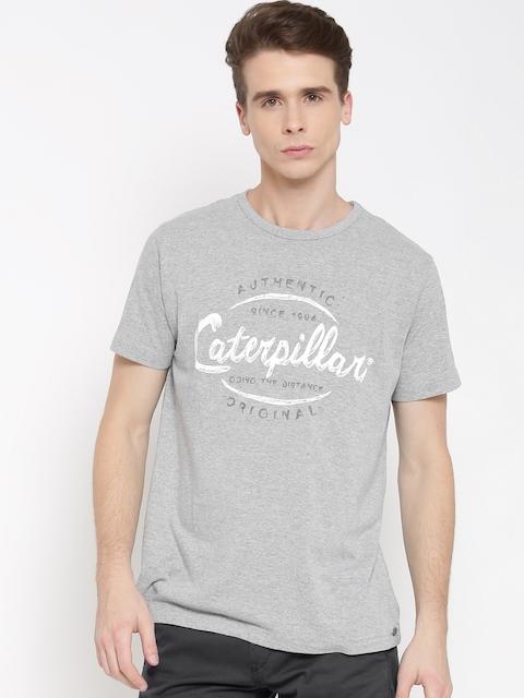 CAT Men Grey Melange Distance Printed Round Neck T-shirt