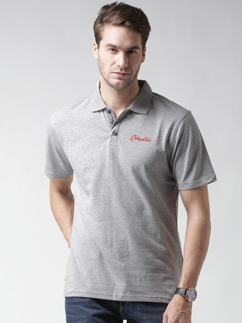 CAT Men Grey Melange 04 Solid Polo Collar T-shirt