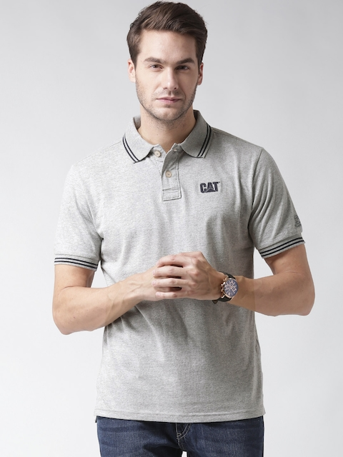 CAT Men Grey Melange Horse Power Solid Polo Collar T-shirt
